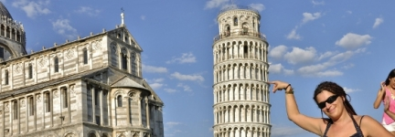 Pisa, at the feet of its leaning tower