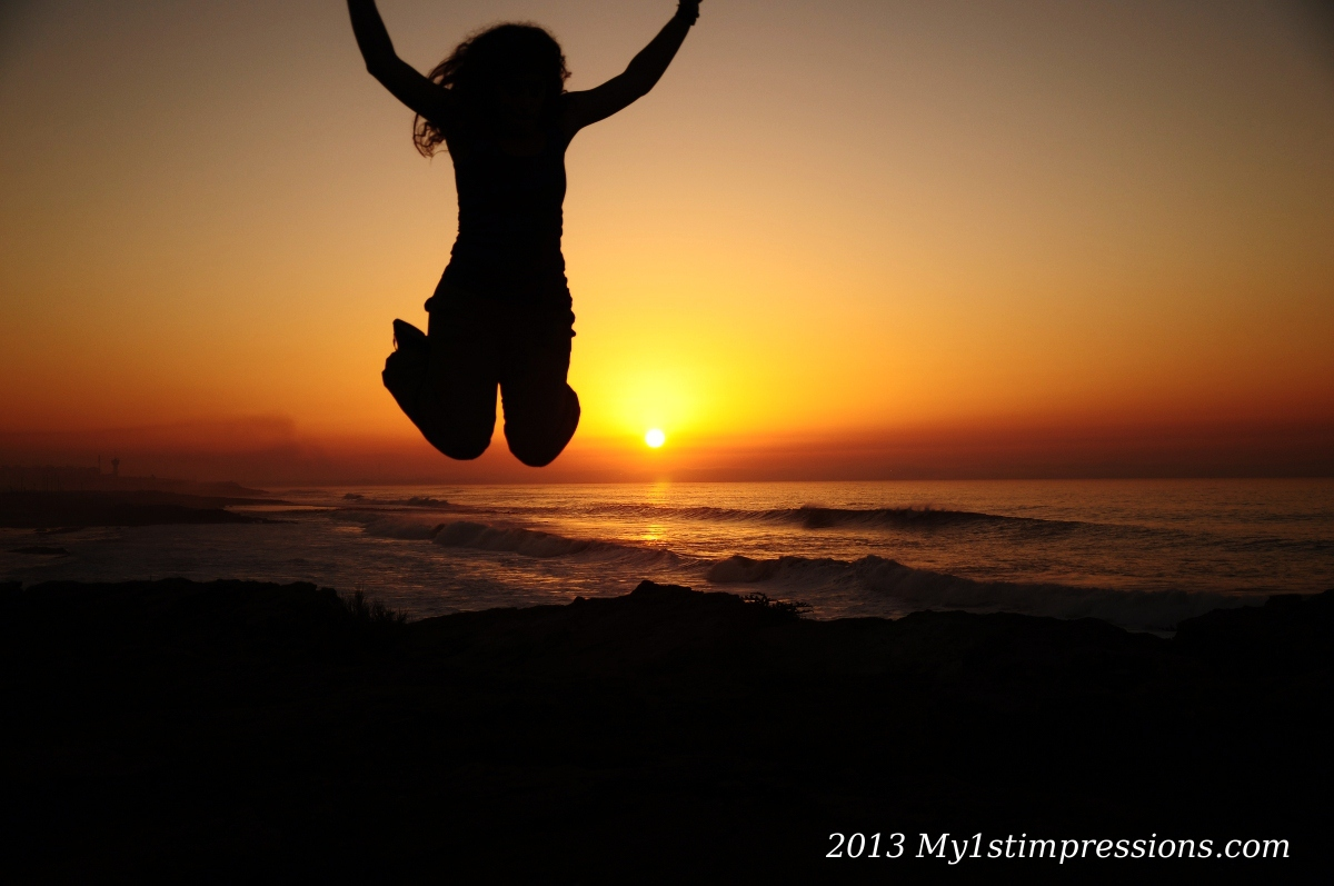 Jumping in the sunset of Morocco