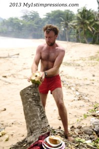 Andreas busy with a coconut