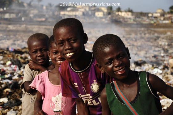 Kids of Africa: children playing in a rubbish field