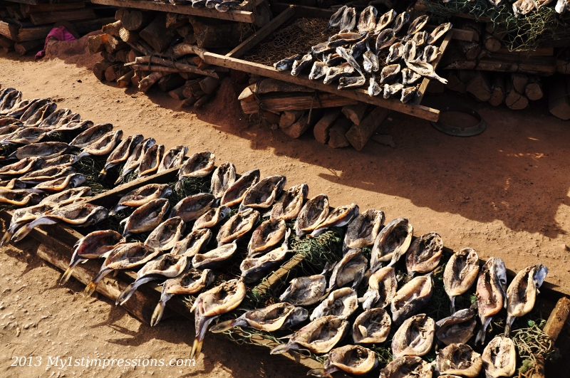 Dried fish isthe most simple and common food in Africa, together with  rise