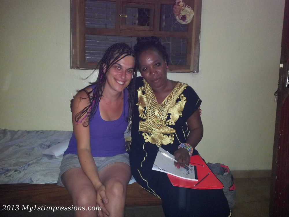 You don´t  get to know them until you become one of them. In this photo, getting African with Fatimata, who made my bracees in Tam,bakunda, Senegal