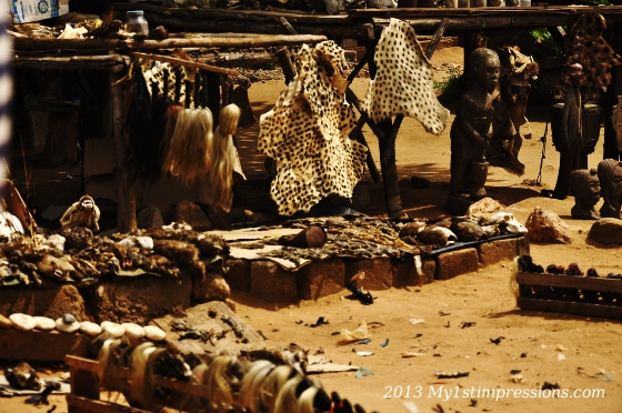 A stand selling all sorts of animal skins
