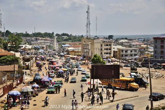 The market of a big town of Nigeria