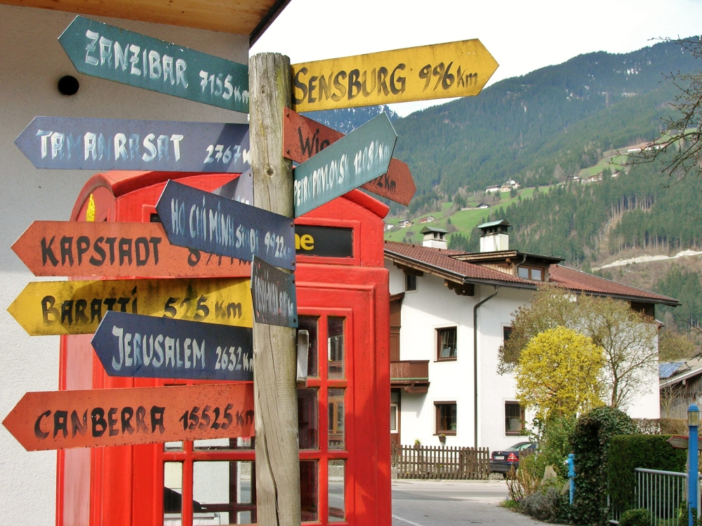 World directions in Zell A Ziller, Austria