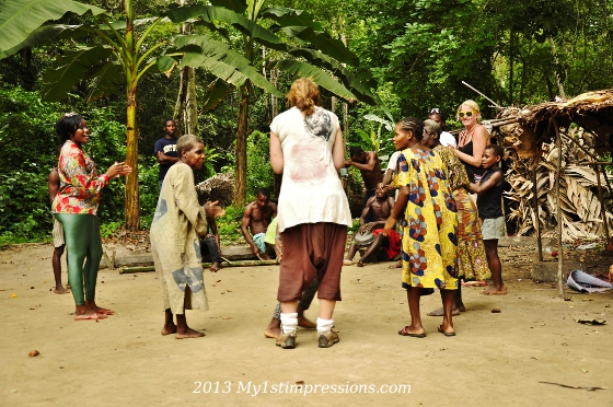 The girls dancing with the Pygmeys