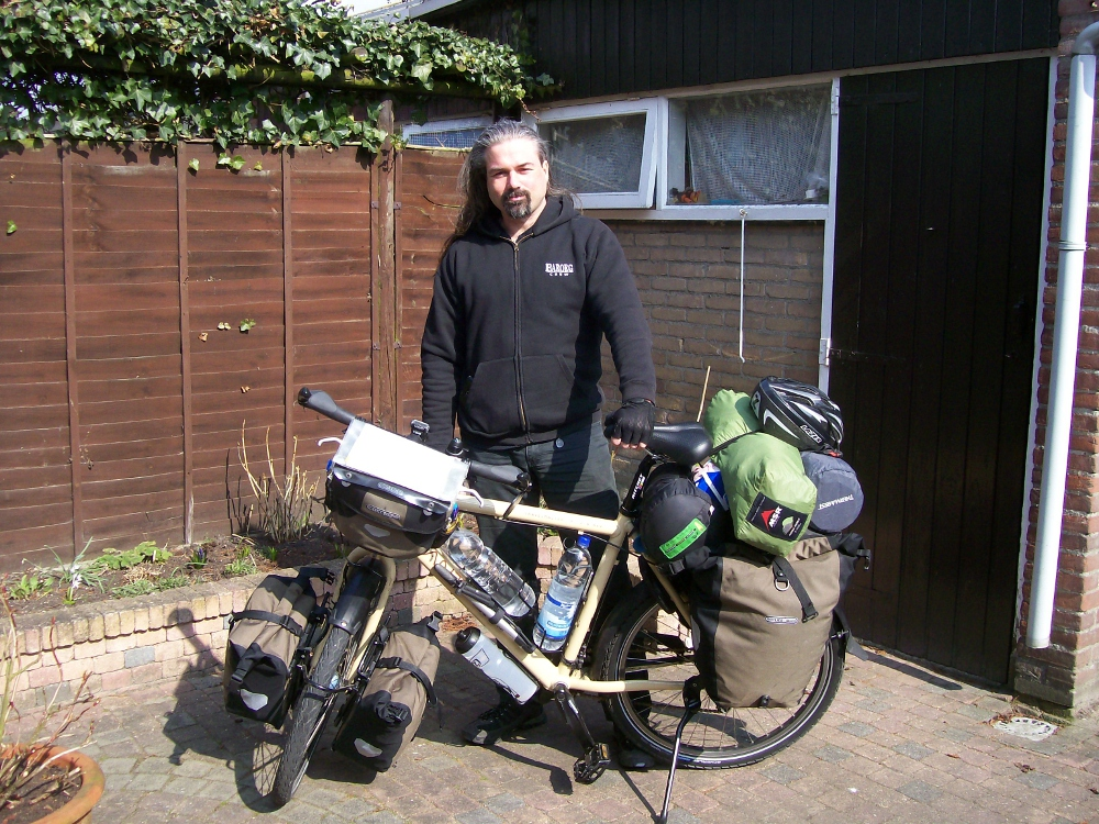 Richard and his bike, on the day of departure