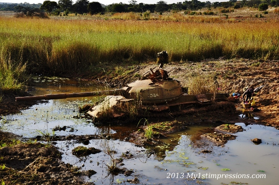 Back to reality:  a tank abandoned in the river after the war