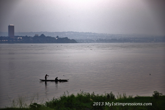 The legendary Congo River, separating Brazzaville from Kinshasa, Congo from DRC