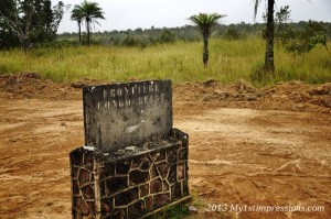 The old sign of the border between Conngo and DRC