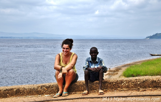 With the locals next to the Congo River