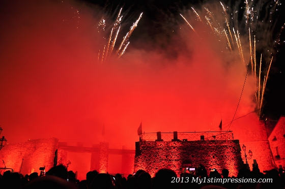 Fireworks on the assaulted castle