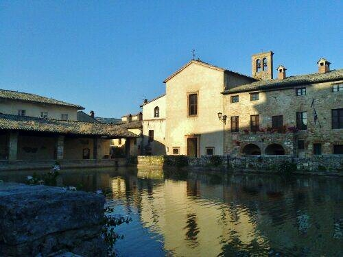 Bagno Mignoni, a Tuscan village where the main squae is a big thermal pool. Beautiful, expecially at sunrise