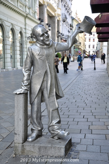 This is the statue of a local who used t greet people every morning in the street