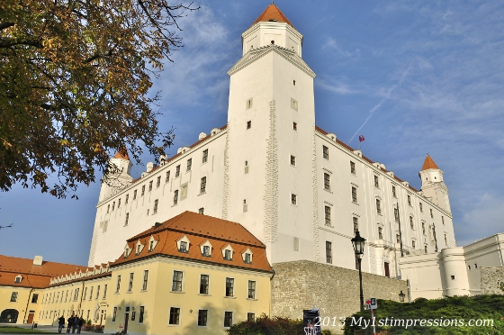 The beautiful castle of Bratislava overlooking the town