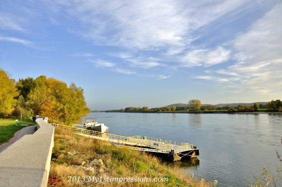 Danube river separating Slovakia from Austria
