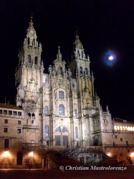 The arrival: Santiago's cathedral at night