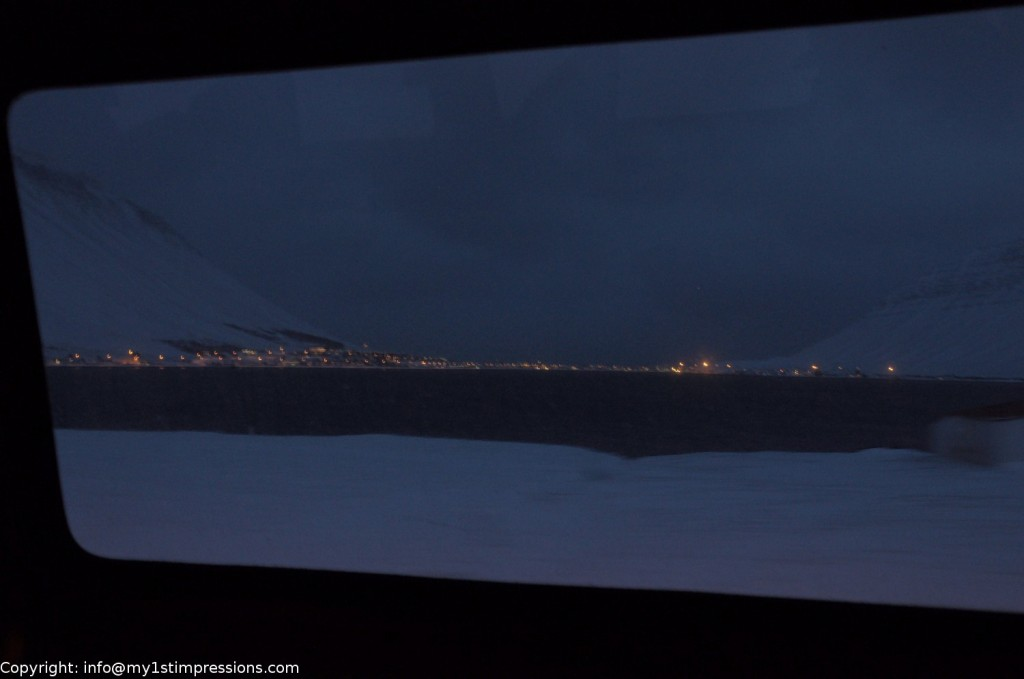 My 1st view of Isafjordur from the bus to the center