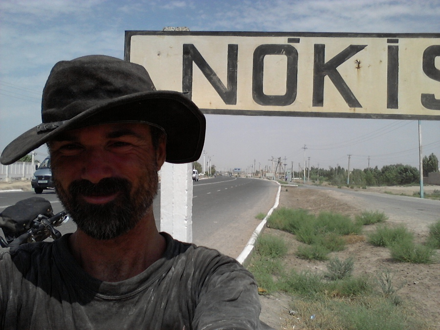 Richard arriving in Nukus, Uzbekistan...reaching civilization