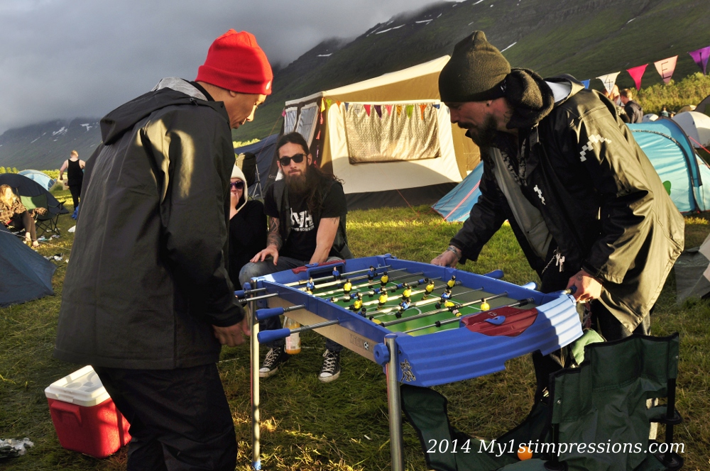 Football table in the camp site