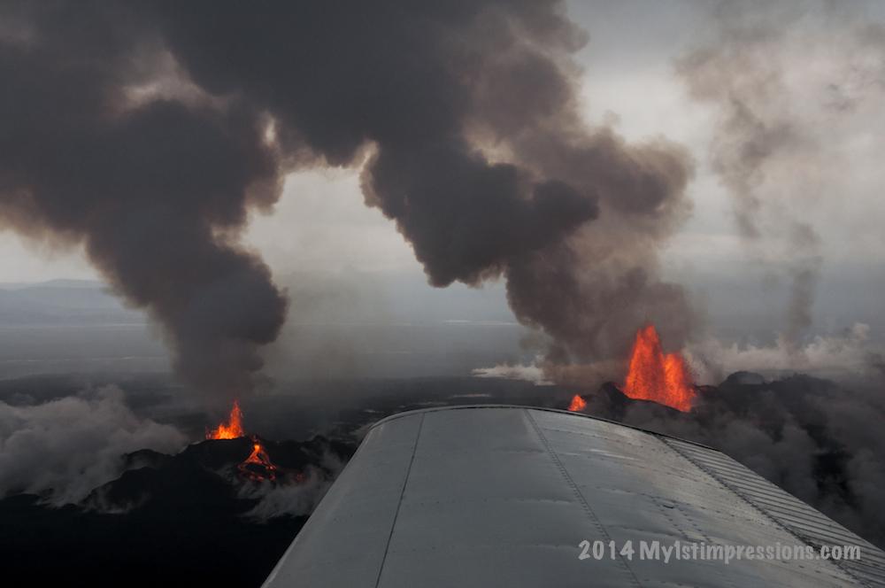 Iceland volcano eruption plane view