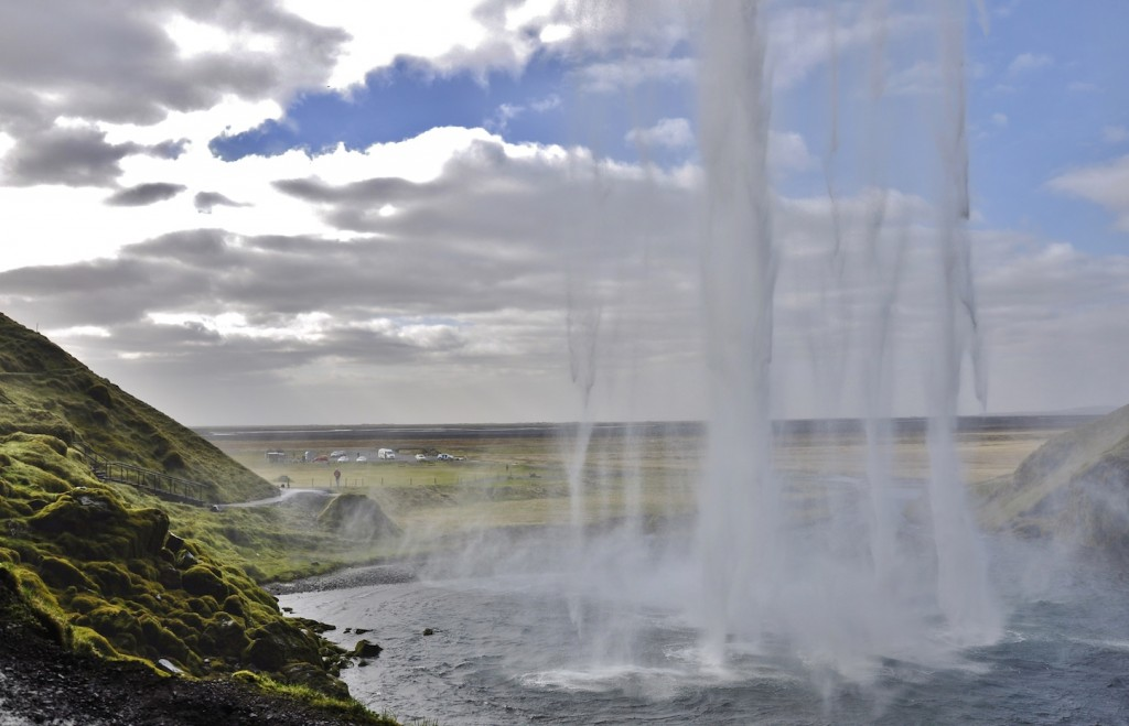 The view from behind the scene at Seljalandfoss