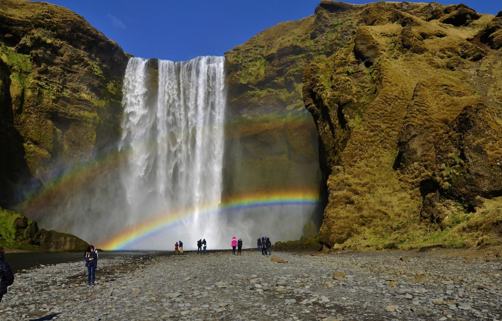 Skogarfoss wrapped up by a double rainbow.