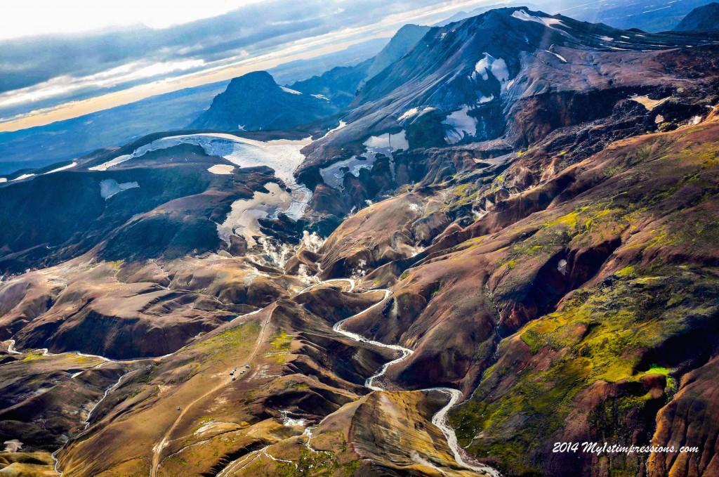 Flight over Iceland and eruption