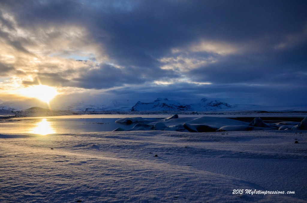 Winter low sunset on the Glacier
