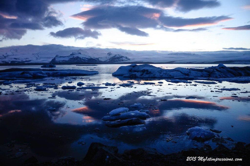 Glacier Lagoon at sunset, perfect end of the first day on the road!