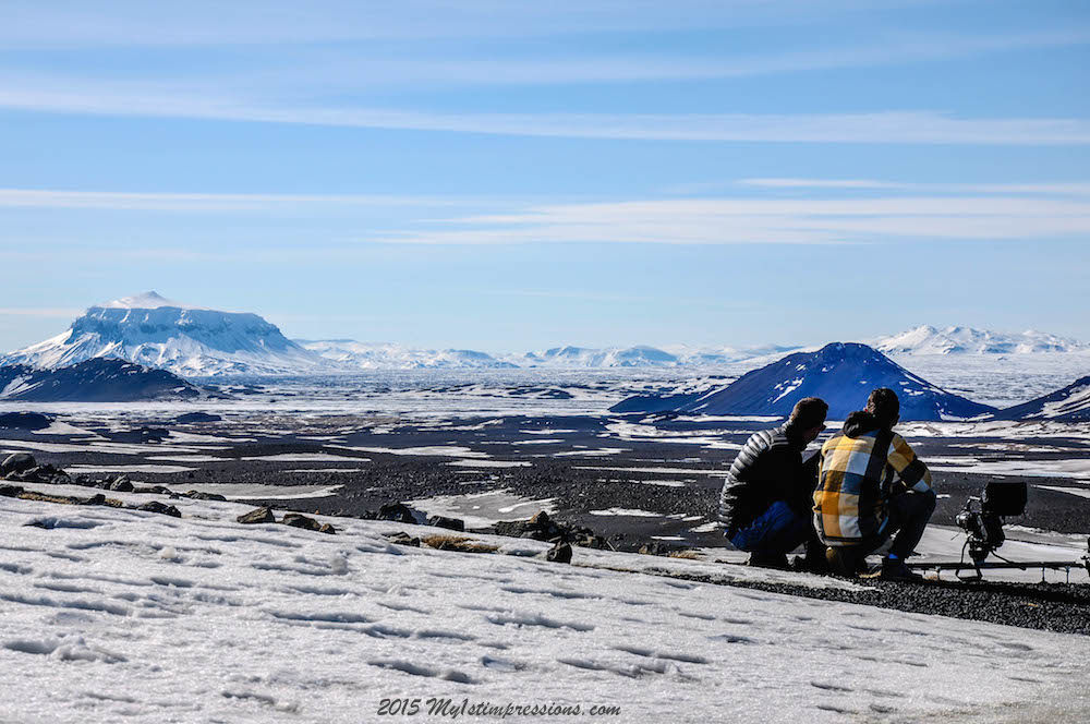 Johannes and Frank enjoying the  view of Iceland and of Askja volcano