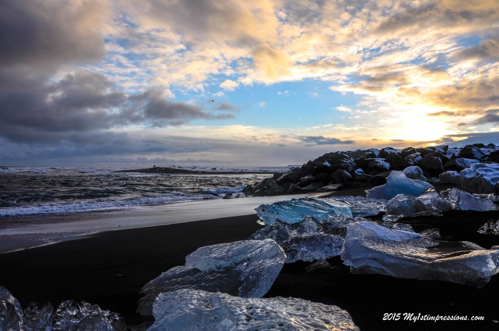 The beauty of the black sand beaches of Iceland at sunset