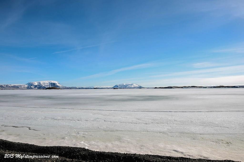 Still frozen Lake Myvatn
