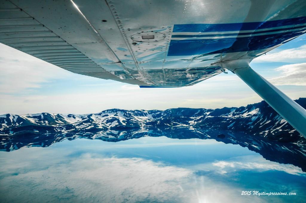 Flying over Askja crater
