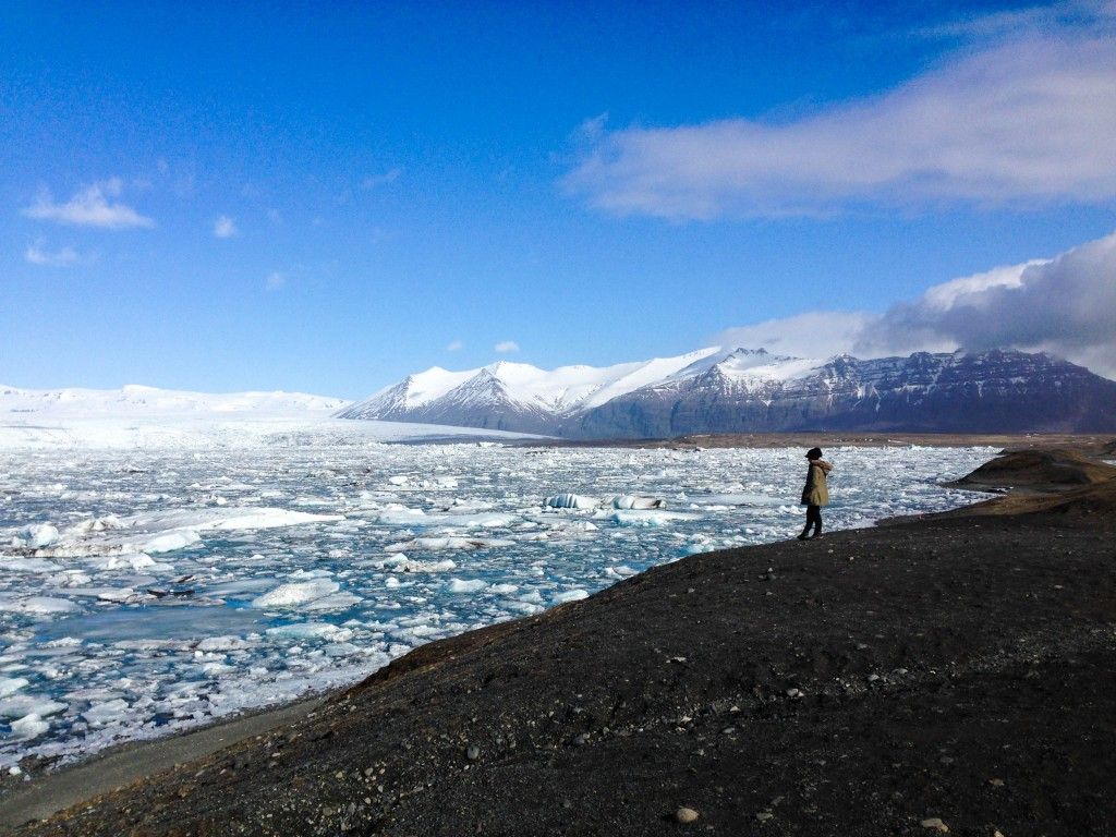 Celebrating life and beauty in front of the Glacier Lagoon of Iceland