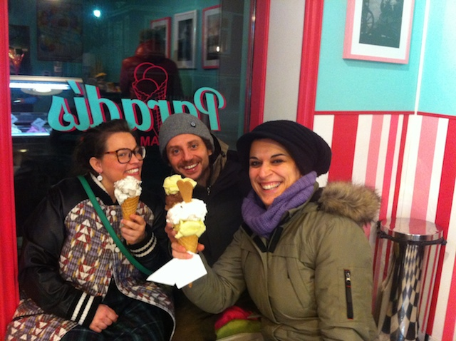 With Flavio and Barbara eating ice cream in Iceland in winter. We couldn't be more Italian than that!