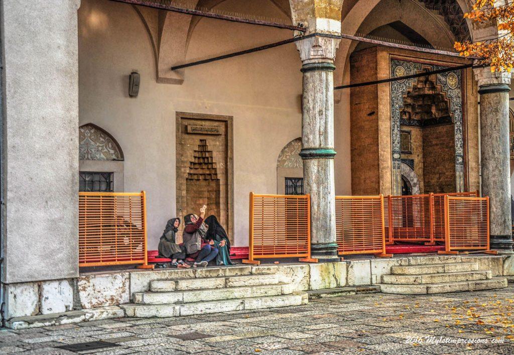 Sarajevo mosque, selfie, Bosnia