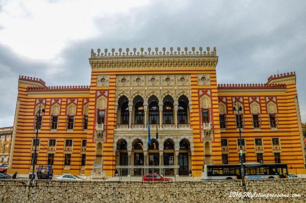 Sarajevo town hall, Bosnia, Siege of sarajevo
